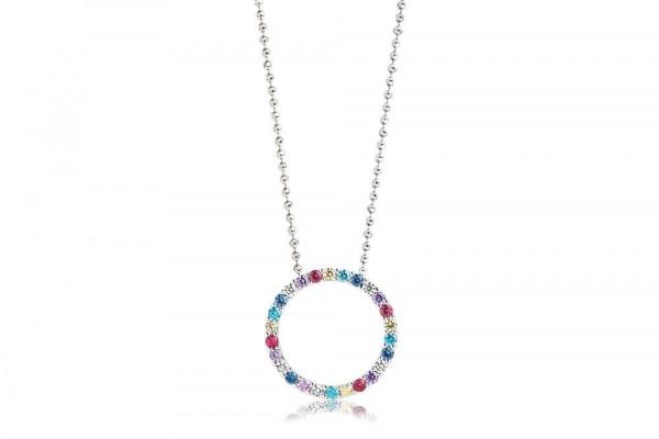 Sif Jakobs Damen Halskette Biella 925er Silber mit Bunten Zirkonia