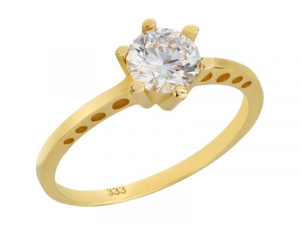 Damen-Ring, DALINO 333 Gold Solitär Goldring mit Zirkonia Stein