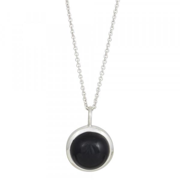 Rhod. Silber Halskette SWEETS schwarzer Onyx 11mm