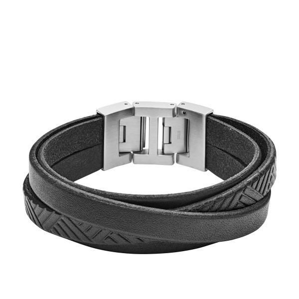 Fossil Herren Armband Leder Edelstahl Schwarz