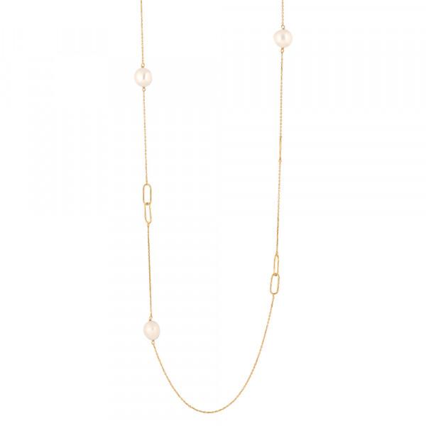 Silb. Verg. Halskette BAROQUE52 Süßwasser perlen 95cm