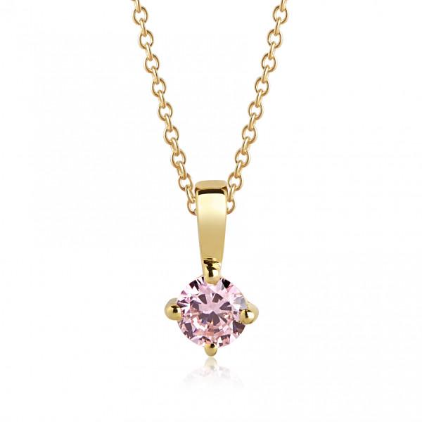 Sif Jakobs Damenhalskette Halskette Princess Round 18Kvergoldet mit Zirkonia P4mRd