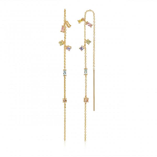Sif Jakobs Damen Ohrhänger Princess chain 18K vergoldet mit bunten Zirkonia