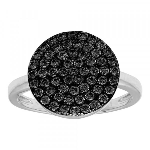 Joanli Nor Damenring Rhod. Silber Ring ANNIE mit schwarzem Zirkonia