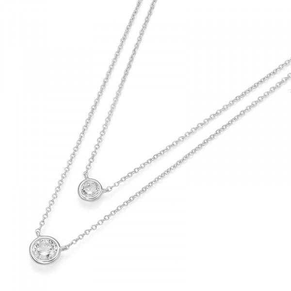Da-lino Damen Halskette doppelreihig in 925er Silber mit Zirkonia