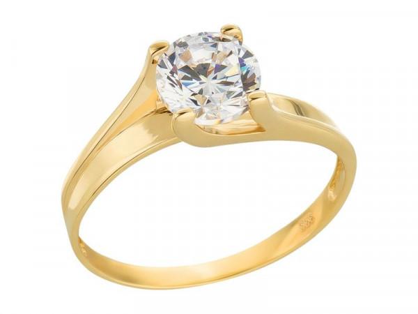 Damen-Ring, DALINO 333 Gold Solitär-Ring mit Zirkonia-Stein