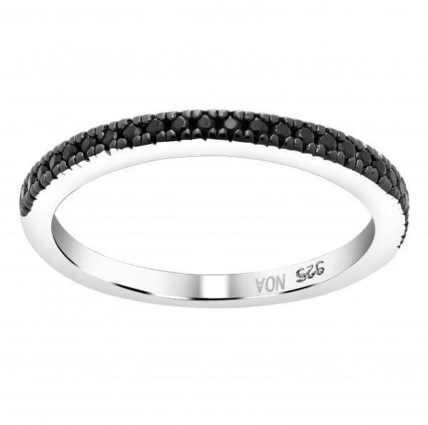 Joanli Nor Damenring Rhod. Silber Ring ADINA mit schwarzem Zirkonia