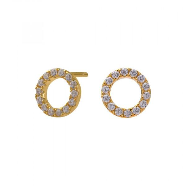 Vergoldete Ohrringe ANNA Kreis mit Zirkonia 8mm