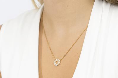 Sif Jakobs Damen Halskette Antella Circolo 18Kvergoldet mit weißen Zirkonia