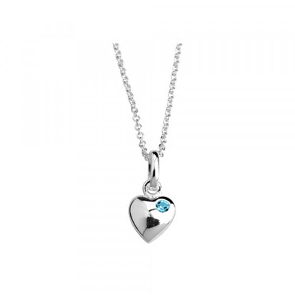 Kinderhalskette Silber Halskette Herz mit hellblauem Kristall