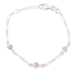Kinder-Armband Silber 3 Herzen mit rosa Emaille