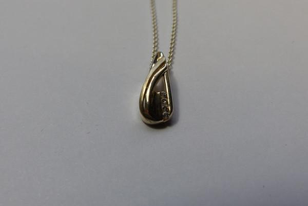 Damen Halskette mit Zirkonia aus 925er Sterling Silber
