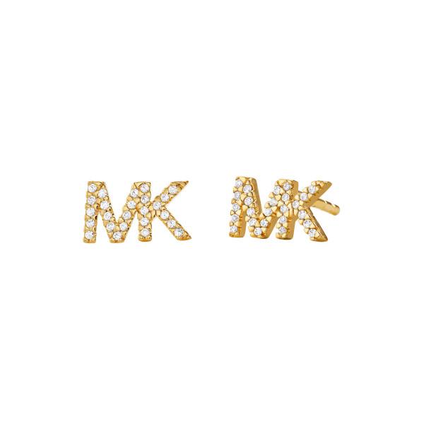 Michael Kors Damen Ohrstecker Premium mit funkelnden Zirkonia und Logo vergoldet