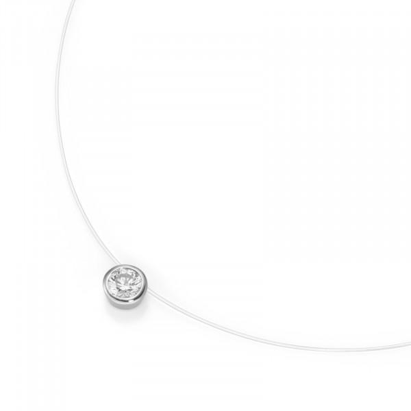 Da-lino Damen Halskette Nylonfaden mit Zirkonia Anhänger