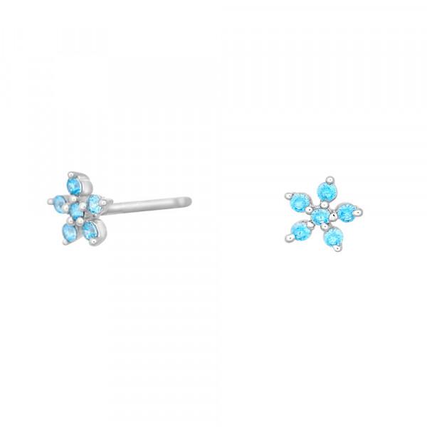 NOA KIDS JEWELLERY Kinder-Ohrstecker silber rhod. Blume mit blauem Zirkonia