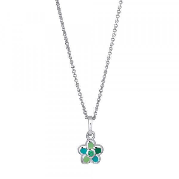 Rhodinierte Silber Halskette mit Zirkonia
