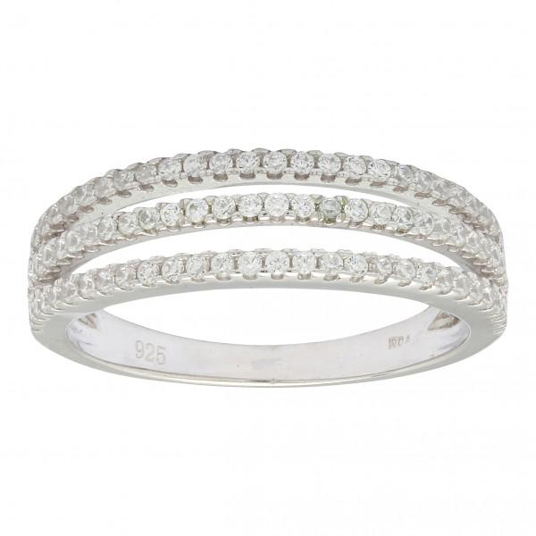 Damenring Rhodinierter Silber Ring ALAINE mit Zirkonia