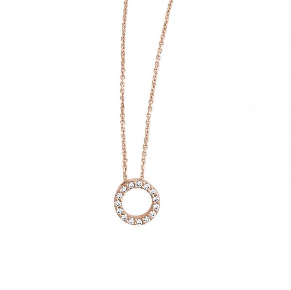 Damen-Halskette, PALIDO 585 Rosegold Collier mit Zirkonia-Steinchen 40 cm