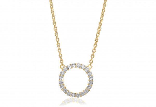 Sif Jakobs Damen Halskette Biella Grande 18K vergoldet mit weissen Zirkonia