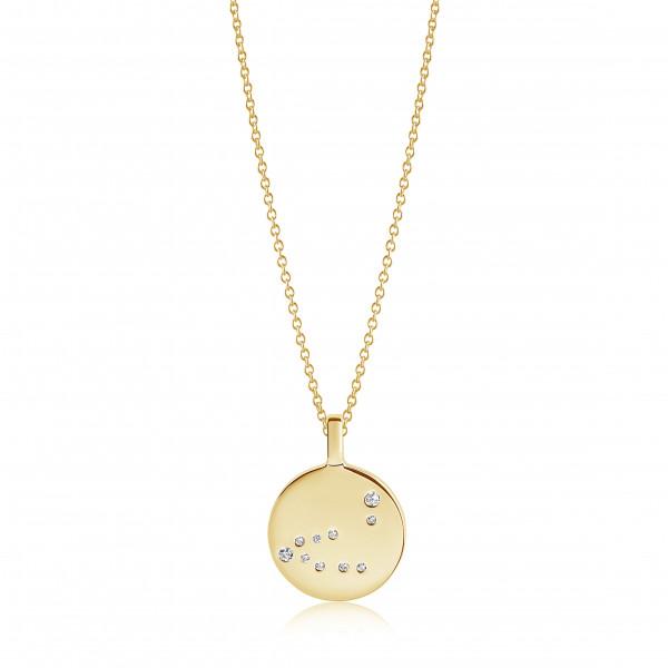 Sif Jakobs Damen Halskette Steinbock Sternzeichen Zodiaco 18K vergoldet mit weißen Zirkonia