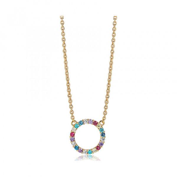 Sif Jakobs Damen Halskette Biella Grande 18K vergoldet mit Bunten Zirkonia