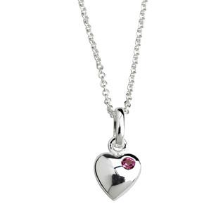 Kinderhalskette Silber Halskette Herz mit rosa Kristall