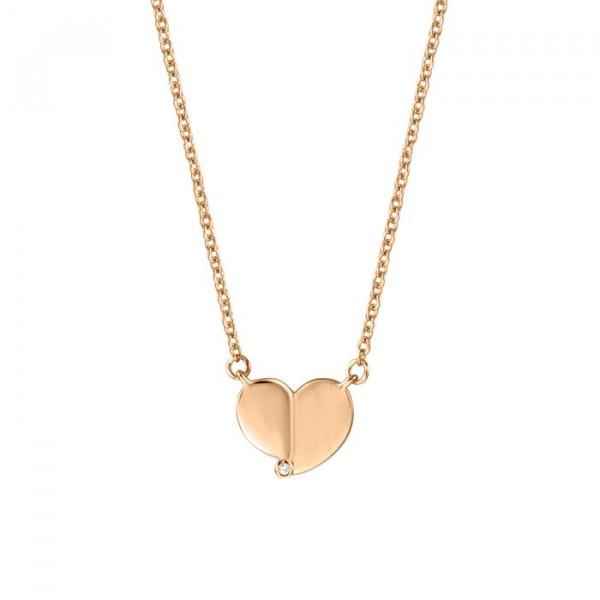 Esprit Damen Halskette Herz Anhänger Rosévergoldet
