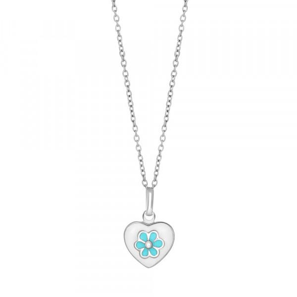 Kinderhalskette Rhd. Silber Halskette mit Herzanhänger