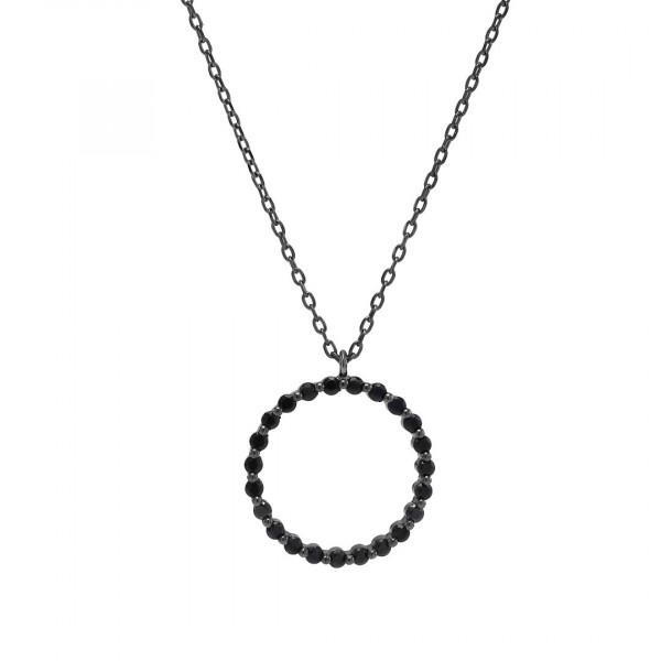 Joanli Nor Damehalskette Schwarz rhodinierte Halskette ALISON Kreis