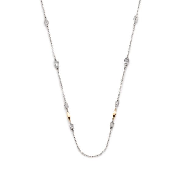 Damen-Halskette, LEONARDO Edelstahl teils goldfarbene IP-Beschichtung Glassteine Edelstahl-Elemente