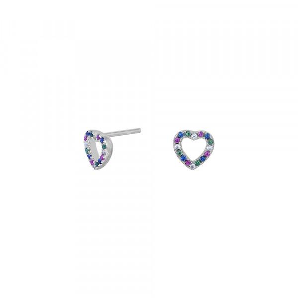 Joanli Nor Damen-Ohrstecker Herz aus Sterling Silber mit Zirkonia