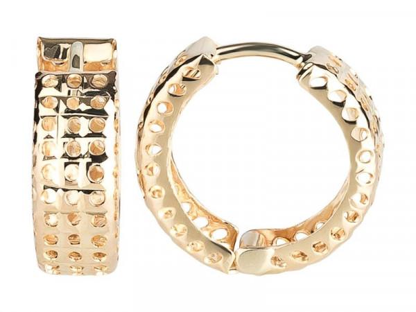 Damen-Ohrringe, DALINO 333 Gold Klapp-Creolen Gitter Muster