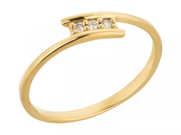 Damen-Ring, DALINO 375 Gold mit 0,06 ct Diamanten