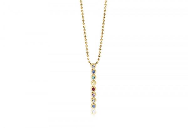 Sif Jakobs Damen Halskette Sardinien Otto 18K vergoldet mit bunten Zirkonia