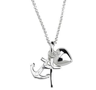 Kinderhalskette Silber Halskette Glaube, Hoffnung, Liebe