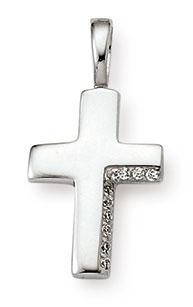 Kreuzanhänger 925 Silber Zirkomia weiss