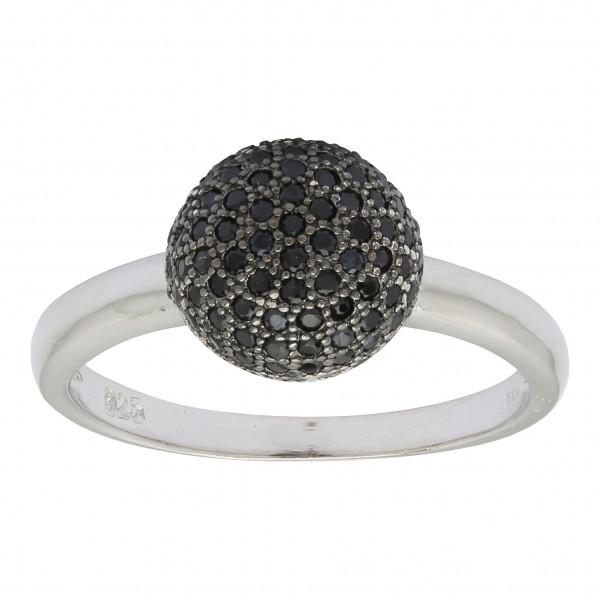 Joanli Nor Damenring Schwarz rhodinierter Silber Ring AMOLA