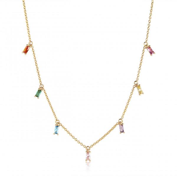 Sif Jakobs Damen Halskette Princess Baguette 18K vergoldet mit bunten Zirkonia