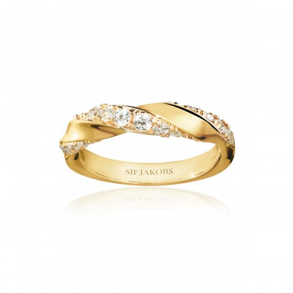 Sif Jakobs Ring Damen Ferrara 18K vergoldet mit weissen Zirkonia