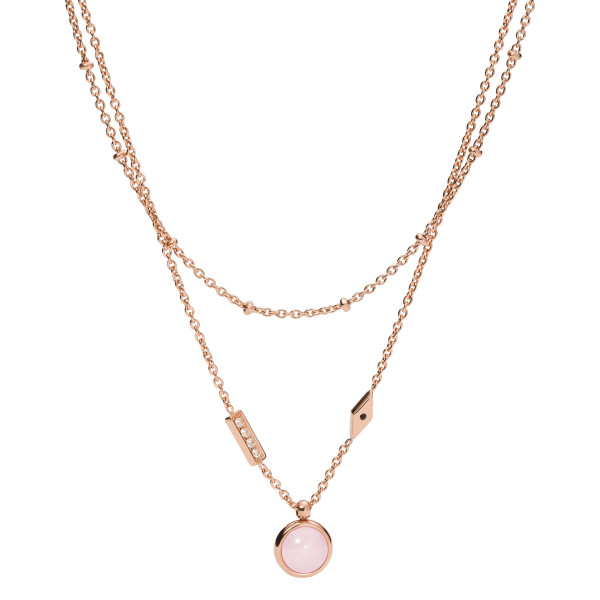 Fossil Halskette Damen Pink Sunset Rosenquarz mehrreihig Edelstahl roségoldfarben