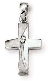 Kreuzanhänger 925 Silber Zirkonia weiss