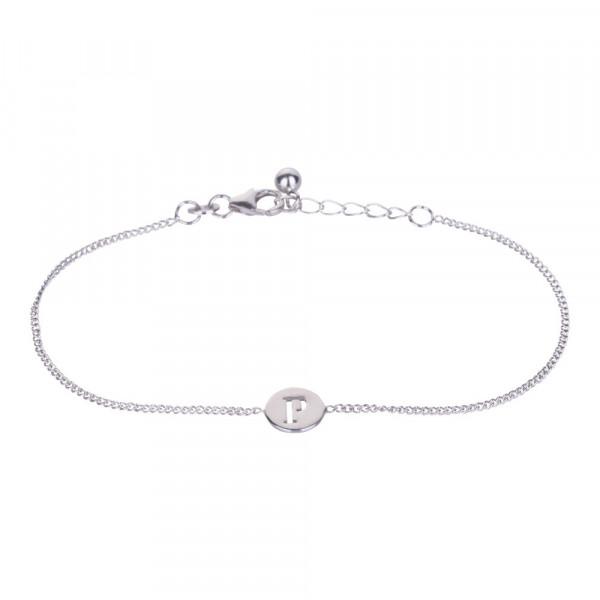 "Rhodniertes Silber Armband ""P"" 8mm 17+2cm"