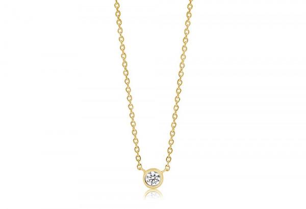 Sif Jakobs Damen Halskette Sardinien Uno 18K vergoldet mit weißen Zirkonia