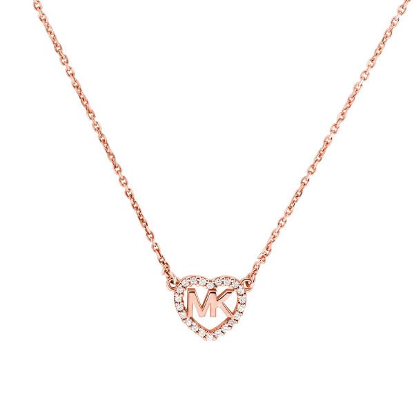 Michael Kors Damen Halskette rosévergoldet mit Herz Anhänger und Zirkonia