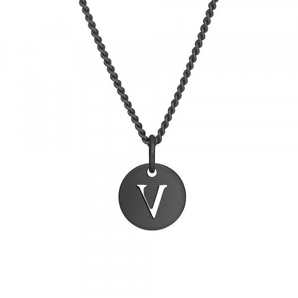 """Oxidierte Silber Halskette """"V"""" 10mm 42+3cm"""