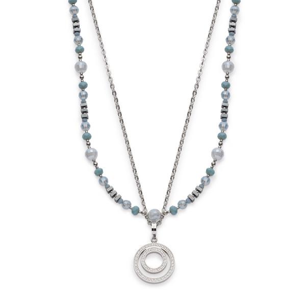 Damen-Halskette, LEONARDO CLIP & MIX Edelstahl Charm-Kette Glasperlen 88cm Misano Darlin´s Set