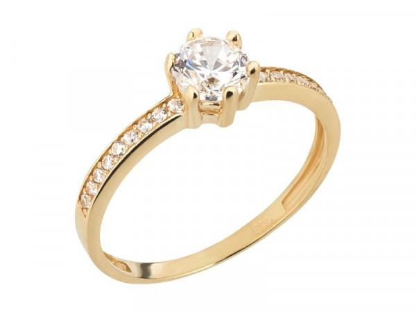 Damen-Ring, DALINO 333 Gold Solitär Ring mit Zirkonia-Steinen