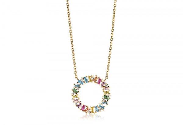 Sif Jakobs Damen Halskette Antella Circolo Grande 18K vergoldet mit Bunten Zirkonia