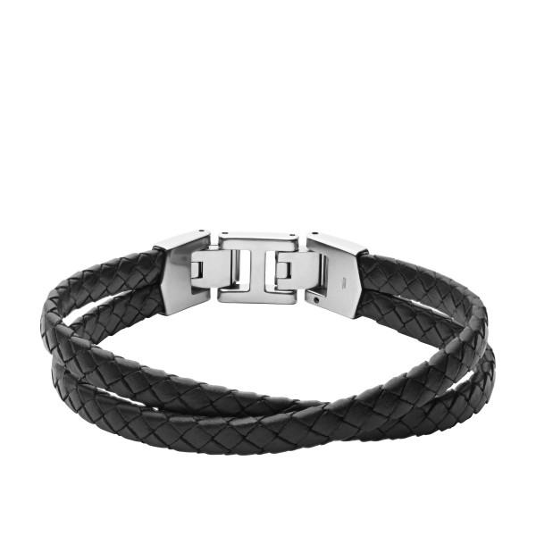 Fossil Herren Armband Essentials mehrsträngig Leder schwarz