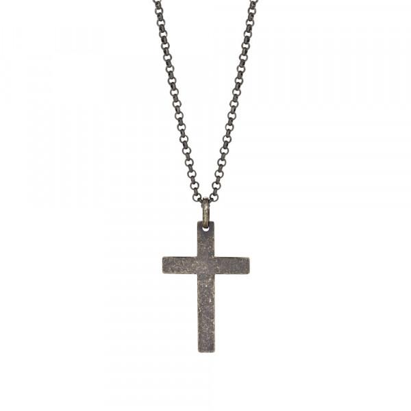 SON of NOA Herren-Halskette Halskette silber rhod. mit Kreuzanhänger